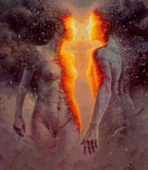 man en vrouw in vuur en vlam